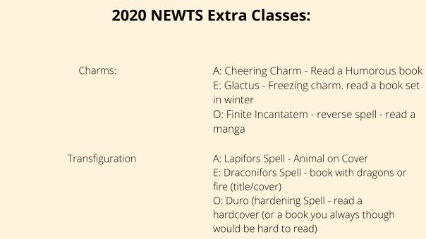 2020 NEWTS extra classes